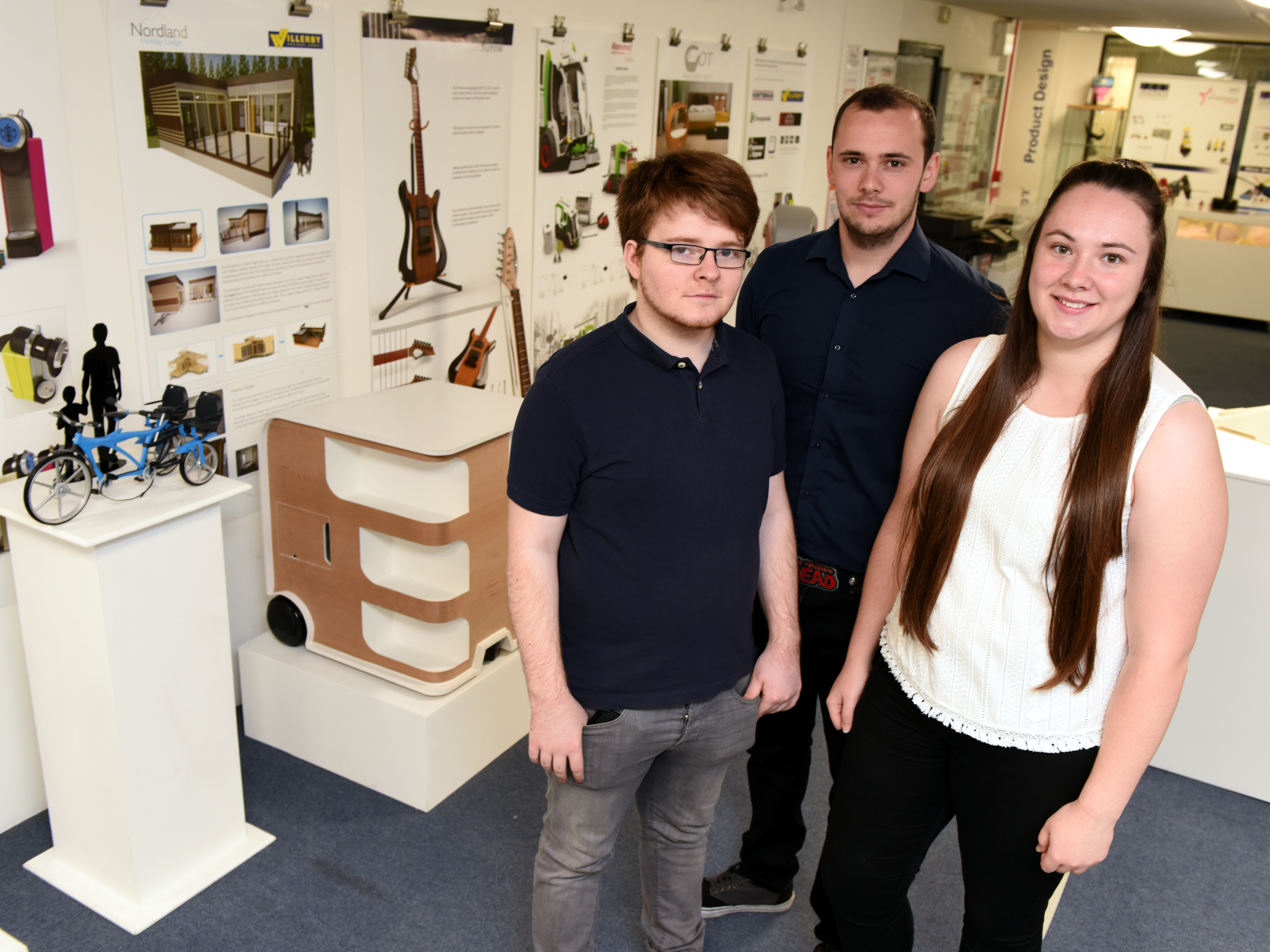 Three of the Teesside University prize winners, Declan Carter, Lewis Brown and Chantelle Wilson