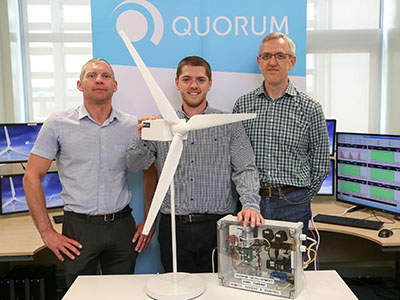 From left - Dr Michael Short, Jordan Robinson and Paul Usher, Business Development Director at Quorum.. Link to Placement helps energy software company develop prototype.