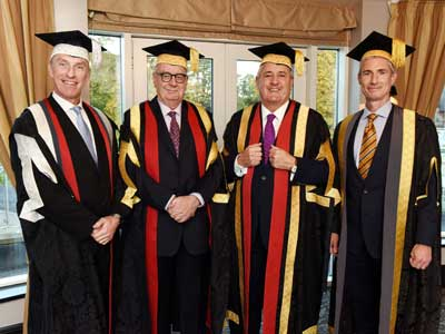 Professor Paul Croney, Lord Sawyer of Darlington, Paul Drechsler CBE and Alastair MacColl.. Link to New Chancellor officially takes up role at Teesside University.