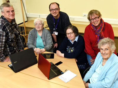 Dr Alison Jarvis, (back right) with members of the LEGs & Co community group and Martin Jameson from Ageing Better Middlesbrough. Link to Researchers' vital role in helping to tackle loneliness.