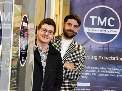 BA (Hons) Marketing students Steven Askham and Luke Evans at Teesside Marketing Clinic . Link to Entrepreneurial students making their mark in the business world.