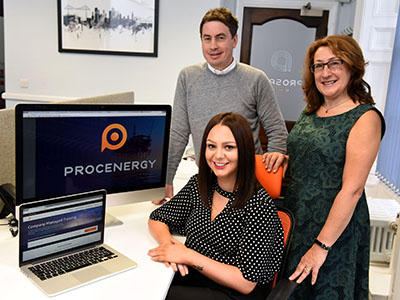 Rebecca Baker (seated) with Michael Styan and Joanne Rout.. Link to Innovate Tees Valley support is helping company market new product online.