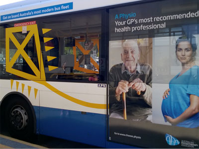 Picture taken by Victoria while in Australia of a marketing campaign promoting physiotherapy. Link to Physiotherapy graduate awarded prestigious travel fellowship.
