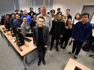 Jordan Mann and Paul Bailey with Teesside University journalism students.