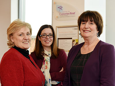 Teesside University has been awarded Putting the Customer First Accreditation for the fifth time. From left - Karen Race, Deputy Director of The Forge; Emma Hoang, Business Information Manager, and Laura Woods, Director of The Forge. Link to Teesside University praised for commitment to customer service.