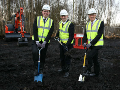 Launching construction of the National Horizons Centre in Darlington: (from left) Mayor of the Tees Valley Ben Houchen, Minister for the Northern Powerhouse Jake Berry and Teesside University Vice-Chancellor Professor Paul Croney.. Link to National Horizons Centre will drive economic growth in STEM industries.