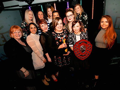 Midwifery Society with Marion Grieves, Dean of Teesside University's School of Health & Social Care. Link to Midwifery students scoop top society award.
