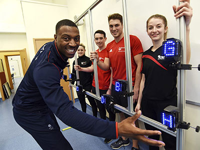 Peter Bakare tests his reactions with Teesside University elite athletes, Sophie Stonehouse, Jordan Thompson, Steven Reeves and Karina Le Fevre (left to right)