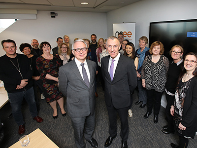 Professor Stuart Corbridge, Vice-Chancellor of Durham University (front-left) with Professor Paul Croney, Vice-Chancellor of Teesside University (front-right) and speakers and guests of the Entrepreneurial Leaders programme.. Link to Teesside's entrepreneurial work showcased to senior university leaders.