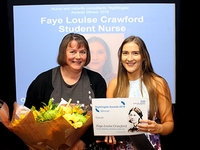 Faye Louise Crawford receives the Nightingale Award from Nurse Consultant