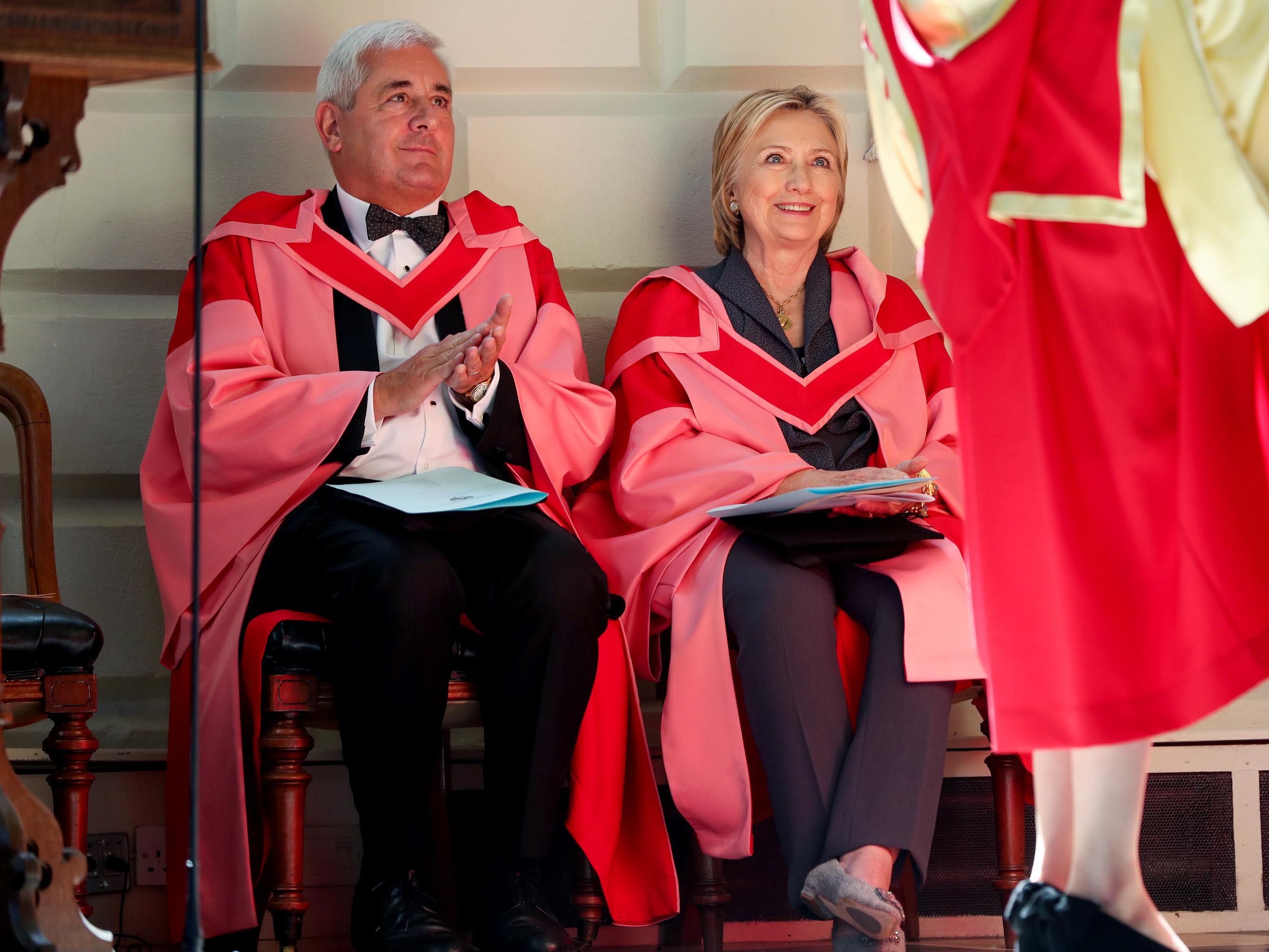 Paul Drechsler CBE alongside former US Presidential candidate Hillary Clinton.