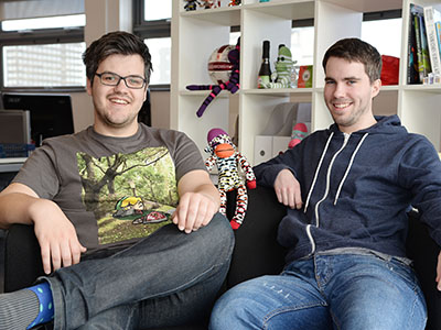 Bob Makin (left) and Darren Cuthbert (right), founders of SockMonkey Studios.. Link to Bob Makin (left) and Darren Cuthbert (right), founders of SockMonkey Studios..