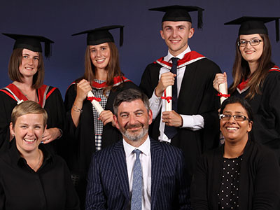 Front row - Rachel Dyson, Anthony McCarthy and Nazia Aftab. Back row – Shannon Cranston, Anna Aldred, Andrew Winn and Lucinda Smart.