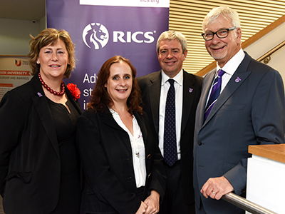 Left to right: Victoria Hampson (RICS Regional Director, North & Midlands), Rachel Anderson (Policy Director at the North East Chamber of Commerce), Chris Pearson (Chair of the RICS North East Regional Board), John Hughes FRICS (RICS President). . Link to Left to right: Victoria Hampson (RICS Regional Director, North & Midlands), Rachel Anderson (Policy Director at the North East Chamber of Commerce), Chris Pearson (Chair of the RICS North East Regional Board), John Hughes FRICS (RICS President). .