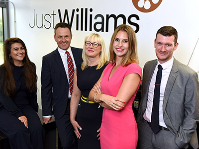 (L-R)  Jasmine Ashley (Trainee Sales Specialist, Just Williams), Matthew Telling (Operations Manager, RMS), Erica Legg (Senior Sales Specialist, Just Williams), Jessica Williams (Founder, Just Williams) and Tom Richardson (Recruitment Consultant, RMS).. Link to Innovate Tees Valley helps sales consultancy expand.