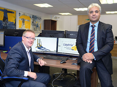 Andy Stevenson (left), founder and director of Ardmore Craig, with Suhail Aslam, Innovate Tees Valley Project Manager. Link to University support helps company to innovate.