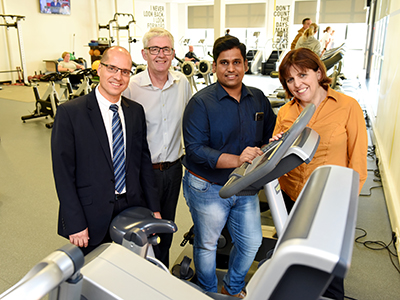 Dr Peter van der Graaf, Martin Jenkins, Dr Murali Subramanian and Dr Liane Azevedo.. Link to Bump to Buggy project will help new and expectant mothers to stay active.
