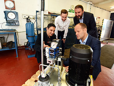 Dr Osama Alaskari, James Griffiths, Dr Ruben Pinedo-Cuenca and Ian Duffew at Industrial and Marine Hydraulics.. Link to Dr Osama Alaskari, James Griffiths, Dr Ruben Pinedo-Cuenca and Ian Duffew at Industrial and Marine Hydraulics..