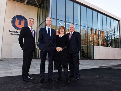 (From left) Vice-Chancellor and Chief Executive Professor Paul Croney, Chairman of the Board of Governors Alastair MacColl, Chancellor Paul Drechsler CBE and Dean of Teesside University Business School Dr Susan Laing.. Link to New Business School to help transform the Tees Valley economy.