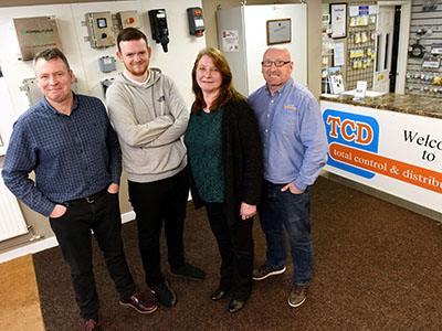 From left - Ian Wilkinson, Luke Robinson, Alexandra Groves and John Shepherd (Director of Total Control and Distribution). Link to Innovate Tees Valley helps company improve digital platform.