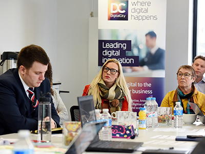 Businesses on the latest DigitalCity Fellowship Accelerator programme at a workshop at Boho Five in Middlesbrough.. Link to Ten new businesses join Fellowship Accelerator Programme.