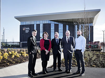 L-R) Dean of the School of Science, Engineering & Design Professor Stephen Cummings, Director of Academic Enterprise Laura Woods and Director of Campus Services Darren Vipond  with Wates Construction's Operations Director Neil Matthias and Project Manger Nick White pictured at the new National Horizons Centre at Teesside University in Darlington.. Link to L-R) Dean of the School of Science, Engineering & Design Professor Stephen Cummings, Director of Academic Enterprise Laura Woods and Director of Campus Services Darren Vipond  with Wates Construction's Operations Director Neil Matthias and Project Manger Nick White pictured at the new National Horizons Centre at Teesside University in Darlington..