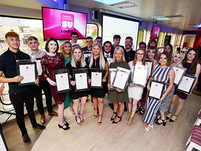 Winners at Teesside University's annual Journalism Awards.. Link to Journalism awards recognise student talent.