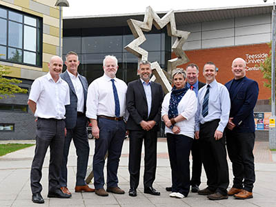 Members of the Teesside University and 2PD Knowledge Transfer Partnership: (L-R) Professor Denis Martin, Professor of Rehabilitation; Jason Timms, Managing Director of 2PD; Dr Alasdair MacSween, Senior Lecturer in Research Governance; Stuart Mead, Chairman of 2PD; Sarah Oatway, KTP Associate; Geoff Archer, Head of Knowledge Exchange, Teesside University; Dr Cormac Ryan, Reader; Eddie Dandy, Director of 2PD. Link to Research partnership could help treatment of phantom limb pain.