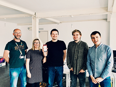 Left to right - Darren Abbot and Jenny Hudson from Teesside University with student Samuel Neesam and Dylan McKee and Alex Birch from Nebula.. Link to Left to right - Darren Abbot and Jenny Hudson from Teesside University with student Samuel Neesam and Dylan McKee and Alex Birch from Nebula..