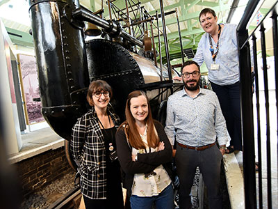 From left, Dr Amber Collings, forensic science lecturer; Rebecca Strong, research student; Professor Tim Thompson; Sarah Gouldsbrough, Head of Steam Darlington Railway Museum . Link to From left, Dr Amber Collings, forensic science lecturer; Rebecca Strong, research student; Professor Tim Thompson; Sarah Gouldsbrough, Head of Steam Darlington Railway Museum .