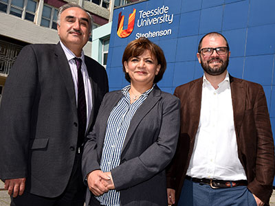 Research team members Professor Nashwan Dawood, Dr Huda Dawood and Dr Sergio Rodriguez. Link to Project to empower businesses to increase energy savings.