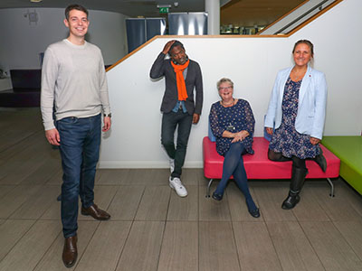 Poet Lemn Sissay (second left) with the organisers of the Hackathon (from left) David Dixon, Investment Manager at DigitalCity, Rachel Morris, Principal Lecturer in the School of Health & Life Sciences and Dr Daisy Best, Principal Lecturer in the School of Social Sciences, Humanities & Law. [Photo credit: Gordon Williams, neurologically-challenged.co.uk]. Link to Event to help young care leavers hailed a success.