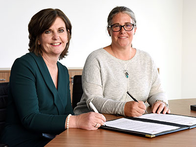 Professor Jane Turner OBE DL, Pro Vice-Chancellor (Enterprise and Business Engagement), pictured with Sue Lyster, ILM London. Link to Visual effects giant partners with Teesside University.