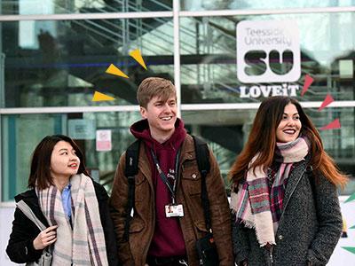 Students outside Teesside University Students' Union. Link to Students outside Teesside University Students' Union.