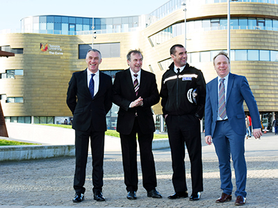 From left - Vice-Chancellor and Chief Executive of Teesside University, Professor Paul Croney;  Police and Crime Commissioner Barry Coppinger; Chief Constable Richard Lewis; and, Professor Paul Crawshaw, Dean of Teesside University's School of Social Sciences, Humanities & Law.. Link to From left - Vice-Chancellor and Chief Executive of Teesside University, Professor Paul Croney;  Police and Crime Commissioner Barry Coppinger; Chief Constable Richard Lewis; and, Professor Paul Crawshaw, Dean of Teesside University's School of Social Sciences, Humanities & Law..