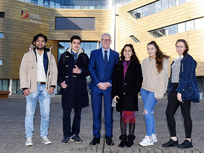 Pictured with Dr David Bell are international students Rushikesh Patil, Hasiel Sarsby, Joanne Patel, Paula Kuchcik and Martyna Dydyk. Link to Pictured with Dr David Bell are international students Rushikesh Patil, Hasiel Sarsby, Joanne Patel, Paula Kuchcik and Martyna Dydyk.