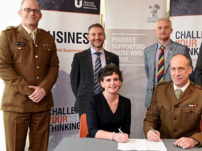 Pro Vice-Chancellor (Enterprise and Business Engagement) Professor Jane Turner OBE DL signing the Armed Forces Covenant at Teesside University last year.. Link to Pro Vice-Chancellor (Enterprise and Business Engagement) Professor Jane Turner OBE DL signing the Armed Forces Covenant at Teesside University last year..