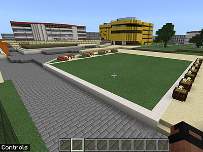 Virtual Campus Heart in Minecraft. Link to Helping university students connect in a virtual world.