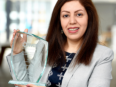 Dr Tannaz Pak, Senior Lecturer in Energy and Environmental Engineering . Link to Prestigious recognition for engineering academic.