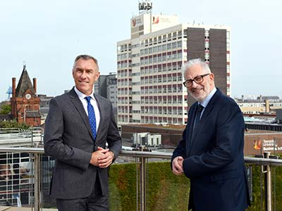 Professor Paul Croney with Lord Kerslake. Link to Teesside University welcomes UK2070 Commission taskforce to tackle regional inequality.