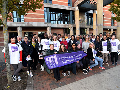 Link to Teesside University hosts the finishing line for Teesside's first Legal Walk.