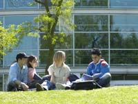 University of Teesside students outside the University's Learning Resource Centre