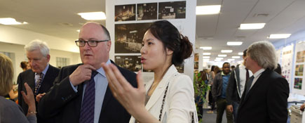 : Alan Davey, Chief Executive of Arts Council England admires the work of Anna Deng, BA (Hons) Interior Design.. Link to Creative arts week is launched by Arts Council Chief Executive .