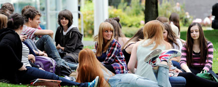 Students at Teesside University.. Link to Best in Britain for student retention.