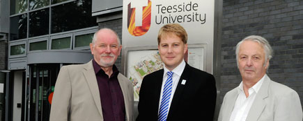 John Forsyth MBE, Michael Lavery and Martin Brooks, Chairman of Cleveland Philharmonic Choir.. Link to Duet for two Teesside organisations promises to raise roof.