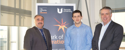 Professor Nashwan Dawood, Director of Teesside University's Technology Futures Institute, Johnathan Munkley and Simon Crowe, Architectural Director at Niven Architects.. Link to Teesside University collaboration helps business to grow.