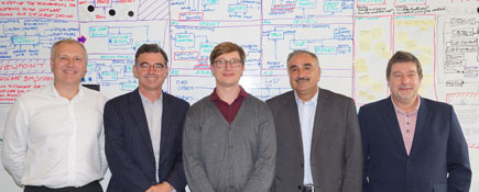 Left to right - Stephen Blacklock – Technical Director, Colour; Peter Owens – Managing Director, Colour; Henry Fenby-Taylor – KTP Associate; Professor Nashwan Dawood, Teesside University; John Clayton,  KTP Advisor, North East England and North Yorkshire.. Link to Partnership helps Landscape Architects unlock new technologies.
