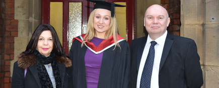 Shelagh, Rebecca and Hugh. Link to Tribute to Dennis aims to inspire Teesside graduates.