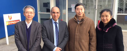 Dr Donglai Xu, a Reader in Teesside University's School of Science & Engineering and Professor Zulf Ali, Dean of the University's Graduate Research School, with Professors Enmin Song and Hong Liu.. Link to Academics take a trip down memory lane.