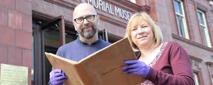 Paul Denison and Gill Moore with the pattern book.. Link to Unseen pattern book to be unveiled at DresserFest.